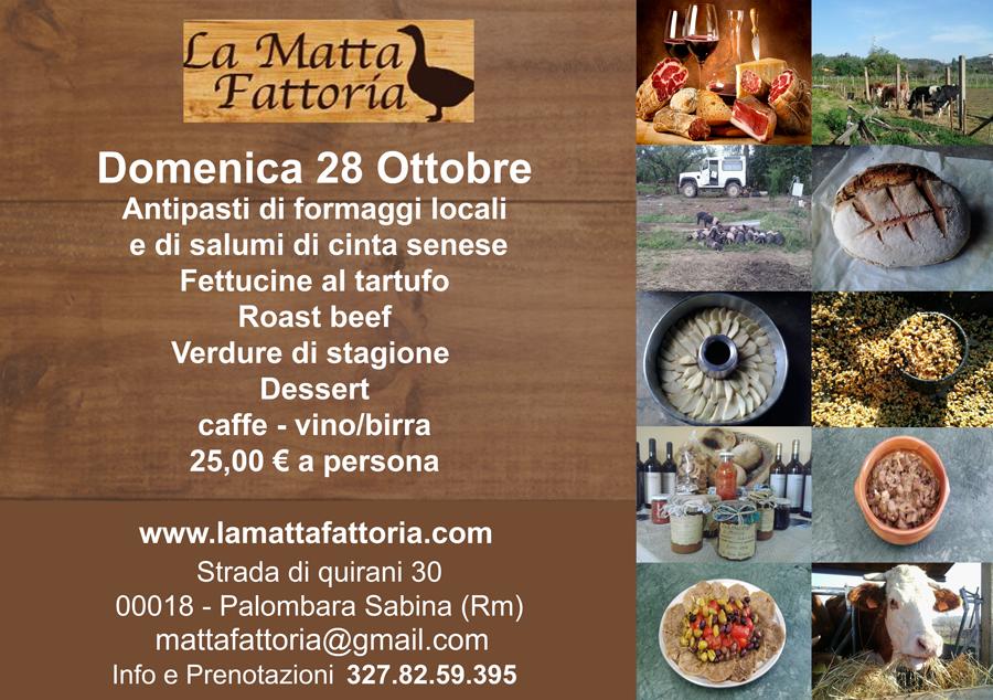 Mattafattoria menu domenica 28 Ottobre 2018